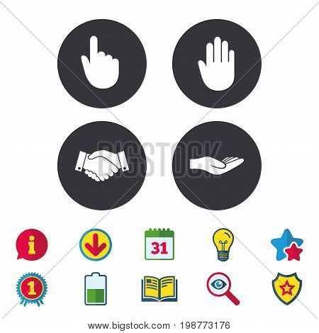 Hand icons. Handshake successful business symbol. Click here press sign. Human helping donation hand. Calendar, Information and Download signs. Stars, Award and Book icons. Vector