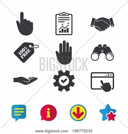 Hand icons. Handshake successful business symbol. Click here press sign. Human helping donation hand. Browser window, Report and Service signs. Binoculars, Information and Download icons. Vector