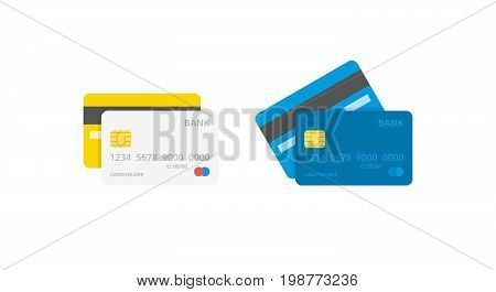 Credit Cards Illustrations. Front And Back Views.