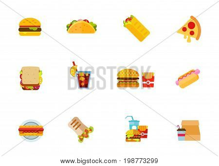 Fast food icon set. Hamburger Taco Shawarma Pizza Slice Sandwich Cuba Libre Drink Burger With Pack OF French Fries Hotdog Doner Coffee