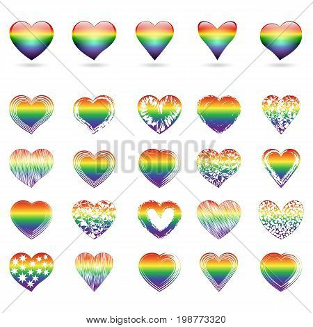 A large set of openwork hearts with rainbow colors. Vector illustration.