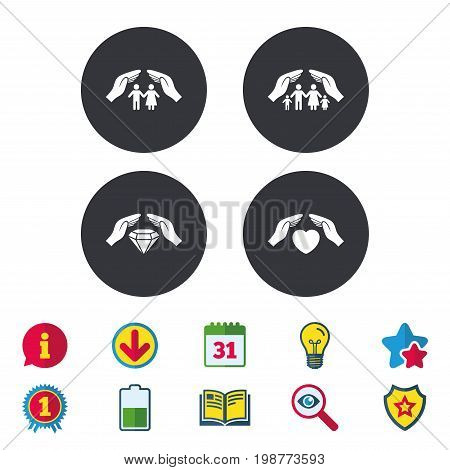 Hands insurance icons. Couple and family life insurance symbols. Heart health sign. Diamond jewelry symbol. Calendar, Information and Download signs. Stars, Award and Book icons. Vector