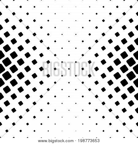 Monochrome square pattern - geometrical halftone abstract vector background illustration from angular rounded squares
