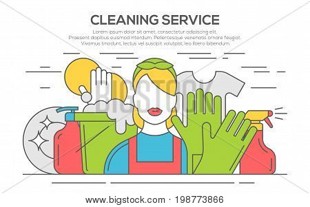Cleaning service concept illustration, thin line flat design