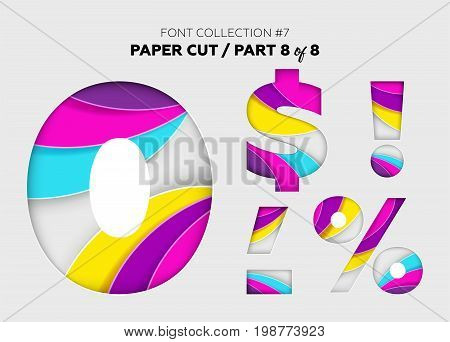 Carved Paper Art Font Design. Beautiful 3D Letters Crafted with Bright Paper. Origami Alphabet Concept. Trendy Creative Shapes. Vector Illustration for Business Logo Greeting Card Invitation.