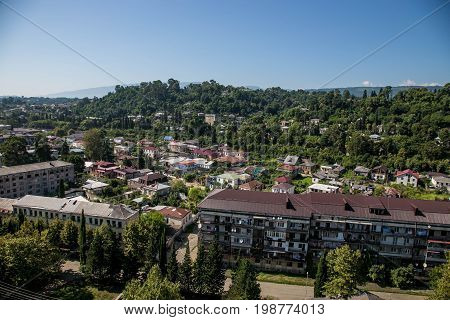 Day aerial cityscape of Sukhum downtown, Abkhazia in summer