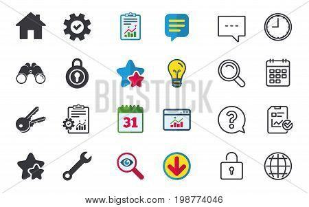 Home key icon. Wrench service tool symbol. Locker sign. Main page web navigation. Chat, Report and Calendar signs. Stars, Statistics and Download icons. Question, Clock and Globe. Vector