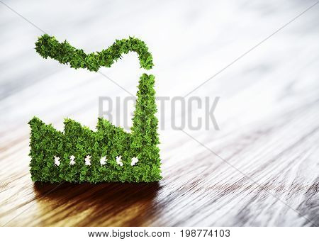 Ecology industry concept. 3D illustration on wooden background.