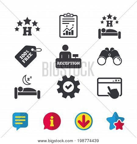 Five stars hotel icons. Travel rest place symbols. Human sleep in bed sign. Hotel check-in registration or reception. Browser window, Report and Service signs. Vector