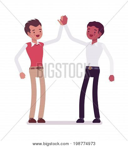 Male clerks giving high five. Employees are motivated, feel valued, emotionally comfortable in office. Corporate behavior concept. Vector flat style cartoon illustration, isolated, white background