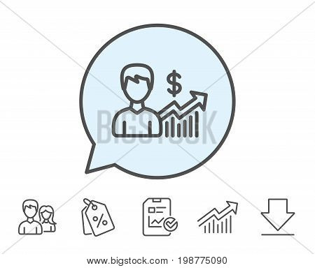 Business results line icon. Dollar with Growth chart sign. Report, Sale Coupons and Chart line signs. Download, Group icons. Editable stroke. Vector