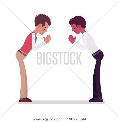 Male clerks giving a bow. Polite and formal greeting gesture. Corporate behavior concept. Vector flat style cartoon illustration, isolated, white background