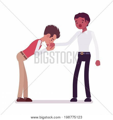 Male clerks hand kiss gesture. Emotional symbol of trust and affection. Corporate behavior concept. Vector flat style cartoon illustration, isolated, white background