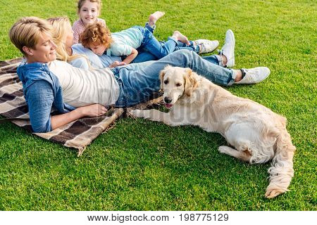 Happy Young Family With Golden Retriever Dog Resting On Grass At Picnic