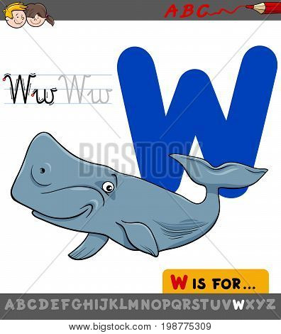Letter W With Cartoon Whale Animal