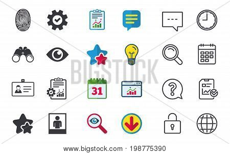Identity ID card badge icons. Eye and fingerprint symbols. Authentication signs. Photo frame with human person. Chat, Report and Calendar signs. Stars, Statistics and Download icons. Vector