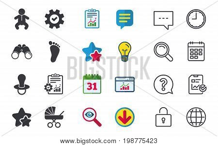Baby infants icons. Toddler boy with diapers symbol. Buggy and dummy signs. Child pacifier and pram stroller. Child footprint step sign. Chat, Report and Calendar signs. Vector