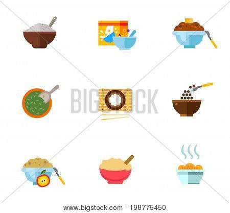 Healthy breakfast icon set. Porridge Flakes Pack Buckwheat Bowl With Seeds Rice With Chopsticks Cereal Chocolate Balls Cornflakes Oatmeal