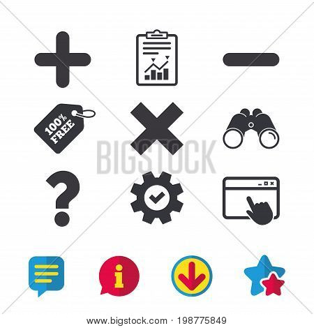 Plus and minus icons. Delete and question FAQ mark signs. Enlarge zoom symbol. Browser window, Report and Service signs. Binoculars, Information and Download icons. Stars and Chat. Vector
