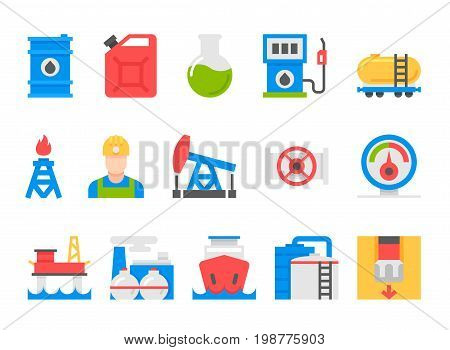 oil and petrol industry objects. icons set of heavy industry, mining resources, tanker and fuel, energy industry. flat style design