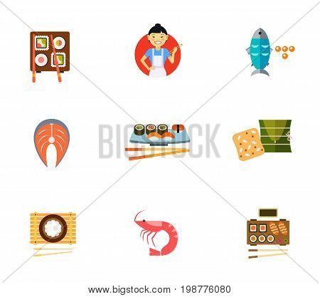Japanese traditional food icon set. Sushi Asian Woman Holding Chopsticks Fish And Caviar Salmon Steak Bowl Of Rice With Chopsticks Shrimp Served Sushi Set