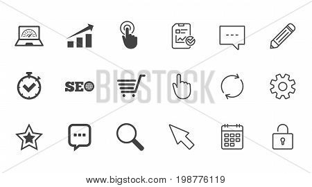 Internet, seo icons. Online shopping, charts and speed signs. Chat messages symbol. Chat, Report and Calendar line signs. Service, Pencil and Locker icons. Click, Rotation and Cursor. Vector