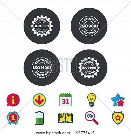 ISO 9001 and 14001 certified icons. Certification star stamps symbols. Quality standard signs. Calendar, Information and Download signs. Stars, Award and Book icons. Light bulb, Shield and Search