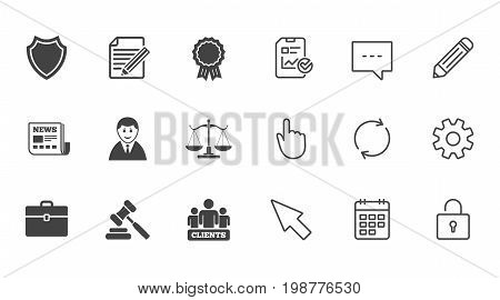 Lawyer, scales of justice icons. Clients, auction hammer and law judge symbols. Newspaper, award and agreement document signs. Chat, Report and Calendar line signs. Service, Pencil and Locker icons