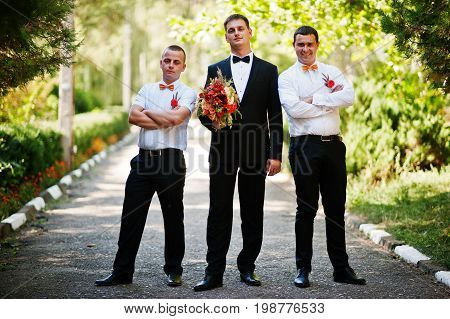 Handsome Groom Walking With His Bestmen Or Groomsmen In The Park On A Wedding Day.