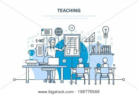 Corporate training, education for colleage and partners, distance learning, system of knowledge, skills. Teaching on lesson in classroom. Courses, conference, presentation. Illustration thin line design of vector doodles.