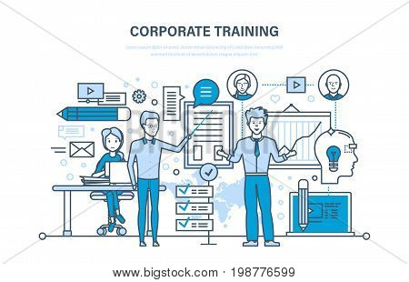 Corporate training, education for colleage, distance learning, system get knowledge. Teaching on lesson in classroom. Conference, presentation. Illustration thin line design of vector doodles.