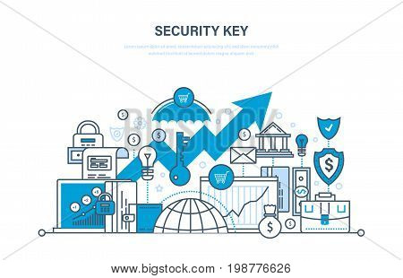 Security key concept. Security of payment, database, network, personal data protection, preservation and confidentiality, deposits, payments. Illustration thin line design of vector doodles.