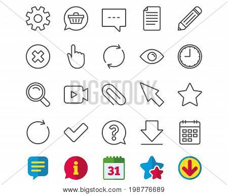 Document, Time and Calendar line icons. Question, Chat and Pencil signs. Cogwheel, Download and Attach clip symbols. Mouse cursor, Magnifier and Shopping cart. Information, Calendar and Download signs