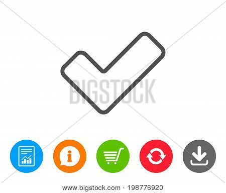 Check line icon. Approved Tick sign. Confirm, Done or Accept symbol. Report, Information and Refresh line signs. Shopping cart and Download icons. Editable stroke. Vector