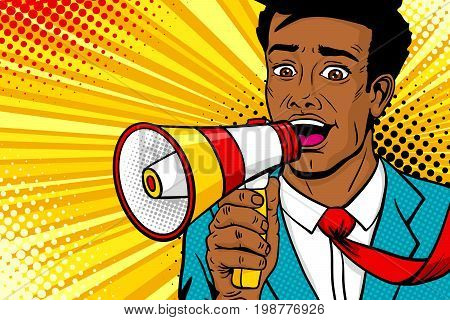Wow pop art male face. Young african american man with open mouth flying tie megaphone screaming announcement. Vector background in comic retro pop art style. Party invitation poster.