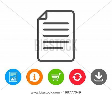 Document Management line icon. Information File sign. Paper page concept symbol. Report, Information and Refresh line signs. Shopping cart and Download icons. Editable stroke. Vector