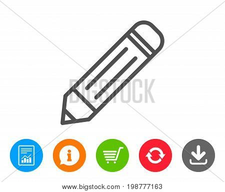 Pencil line icon. Edit sign. Drawing or Writing equipment symbol. Report, Information and Refresh line signs. Shopping cart and Download icons. Editable stroke. Vector