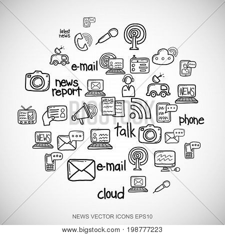 Black doodles flat Hand Drawn News Icons set In A Circle on White background. EPS10 vector illustration.