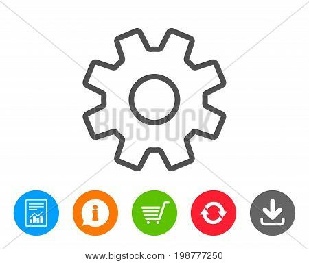 Cogwheel line icon. Service sign. Transmission Rotation Mechanism symbol. Report, Information and Refresh line signs. Shopping cart and Download icons. Editable stroke. Vector