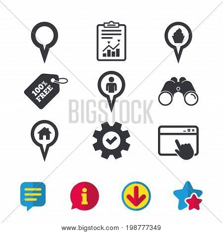 Map circle pointer icons. Home, food and user location symbols. Restaurant and cupcake signs. You are here. Browser window, Report and Service signs. Binoculars, Information and Download icons