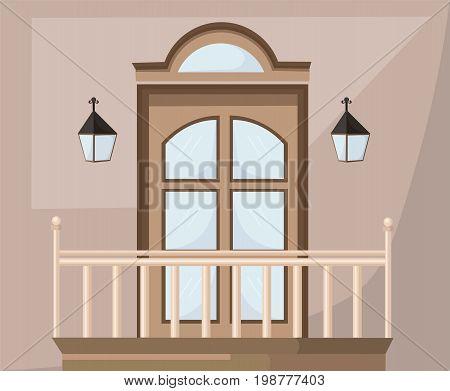 Vintage door facade Vectror. Main entrance illustrations