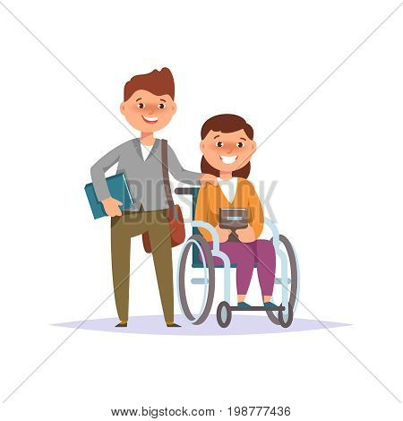 Vector illustration of disabled girl student in child wheelchair with friend school boy isolated. Couple schoolchild cartoon style