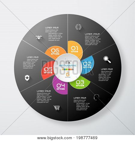 Vector infographic of gradient dark gray round form and color segments cut from paper with text and color icons with long shadows on the gradient gray background.
