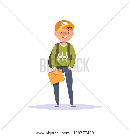 Vector illustration icon elementary school boy colorful clothes with textbook and backpack isolated white background. Cartoon style poster