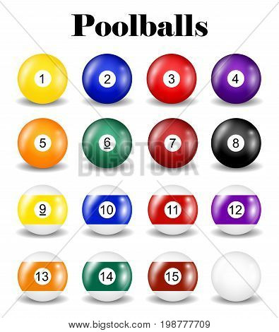 set of real pool balls on a white background