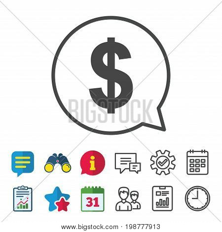 Dollars sign icon. USD currency symbol. Money label. Information, Report and Calendar signs. Group, Service and Chat line icons. Vector