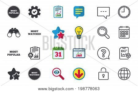 Most popular star icon. Most watched symbols. Clients or users choice signs. Chat, Report and Calendar signs. Stars, Statistics and Download icons. Question, Clock and Globe. Vector