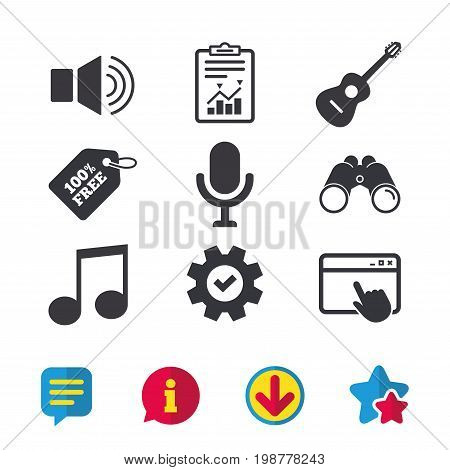 Musical elements icons. Microphone and Sound speaker symbols. Music note and acoustic guitar signs. Browser window, Report and Service signs. Binoculars, Information and Download icons. Stars and Chat