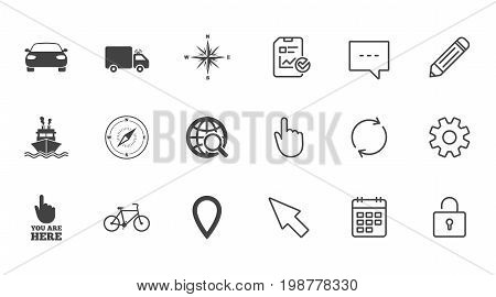 Navigation, gps icons. Windrose, compass and map pointer signs. Bicycle, ship and car symbols. Chat, Report and Calendar line signs. Service, Pencil and Locker icons. Click, Rotation and Cursor