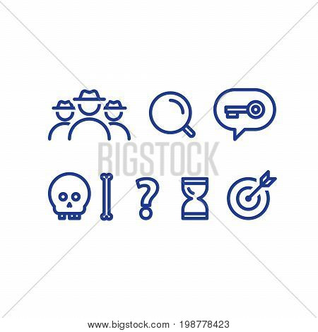 Detective game concept, quest playing items, crime investigation, deductive riddle, vector line icons